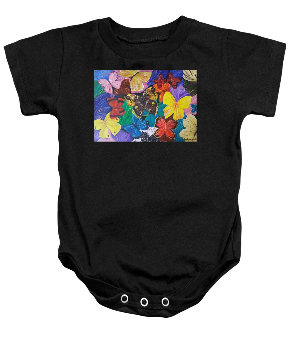 Butterfly Baby Onesie featuring the painting Butterflies by Rita Fetisov