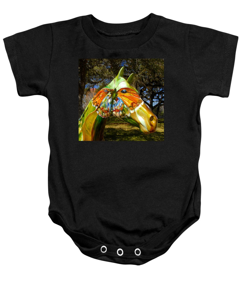 Ocala Florida Baby Onesie featuring the photograph Butterfly Horse Ocala Florida by David Lee Thompson