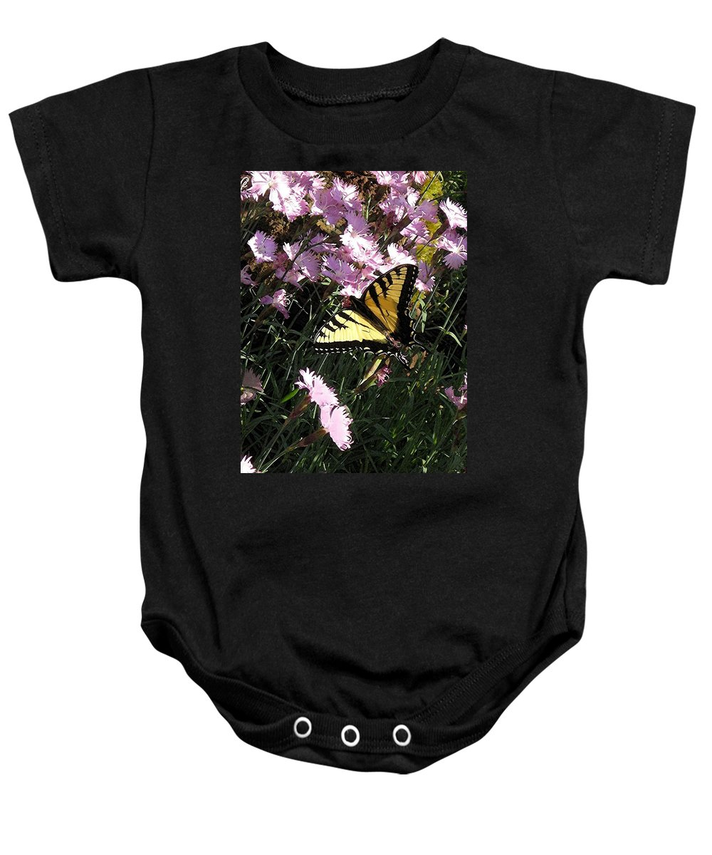 Butterfly Baby Onesie featuring the photograph Butterfly Surprise Watercolor by Carolyn Jacob