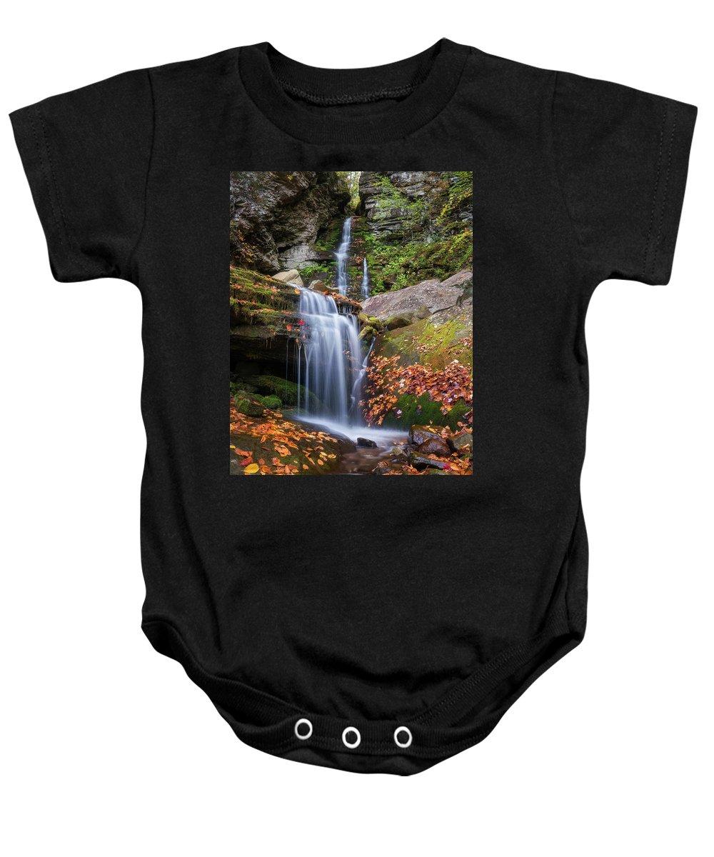 Autumn Baby Onesie featuring the photograph Buttermilk Falls by Ryan Kirschner