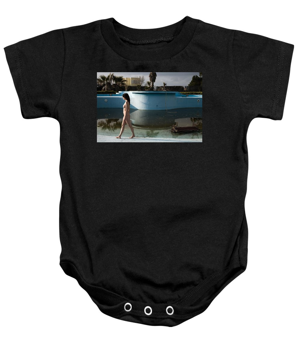 Nudes Baby Onesie featuring the photograph By The Old Pool by Olivier De Rycke