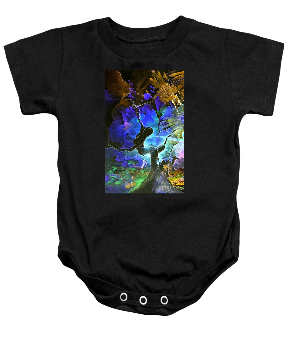 Miki Baby Onesie featuring the painting Bye by Miki De Goodaboom