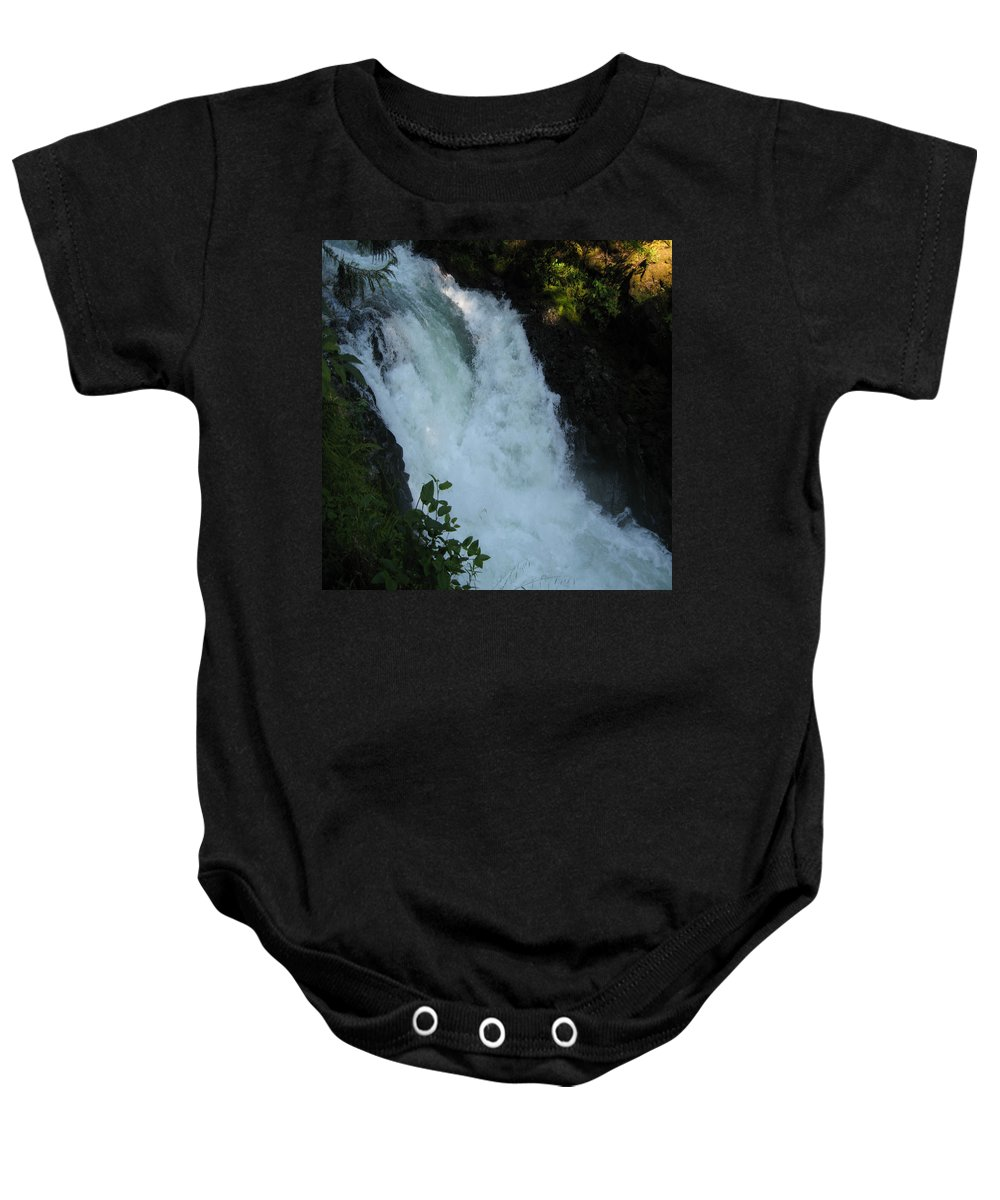 Columbia Gorge Baby Onesie featuring the photograph Bz Falls 2 by Ingrid Smith-Johnsen