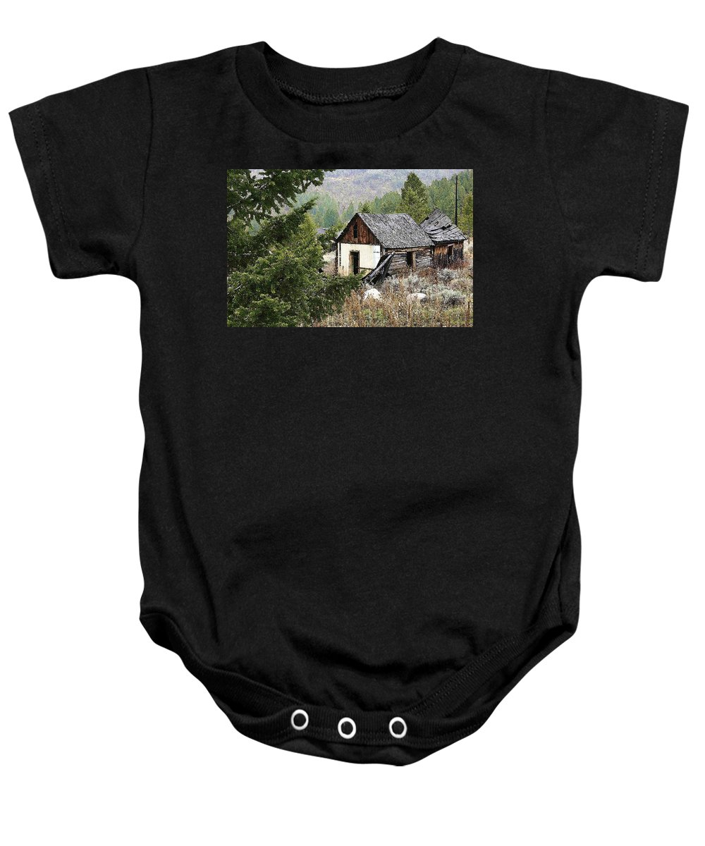 Cabin Baby Onesie featuring the photograph Cabin In Need Of Repair by Nelson Strong
