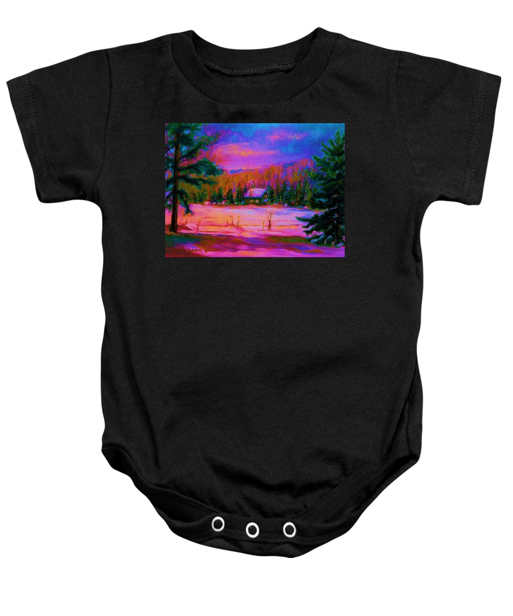 Winterscenes Baby Onesie featuring the painting Cabin In The Woods by Carole Spandau