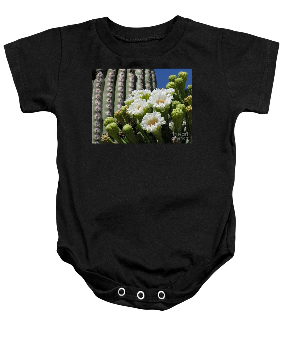 Cactus Baby Onesie featuring the photograph Cactus Budding by Diane Greco-Lesser