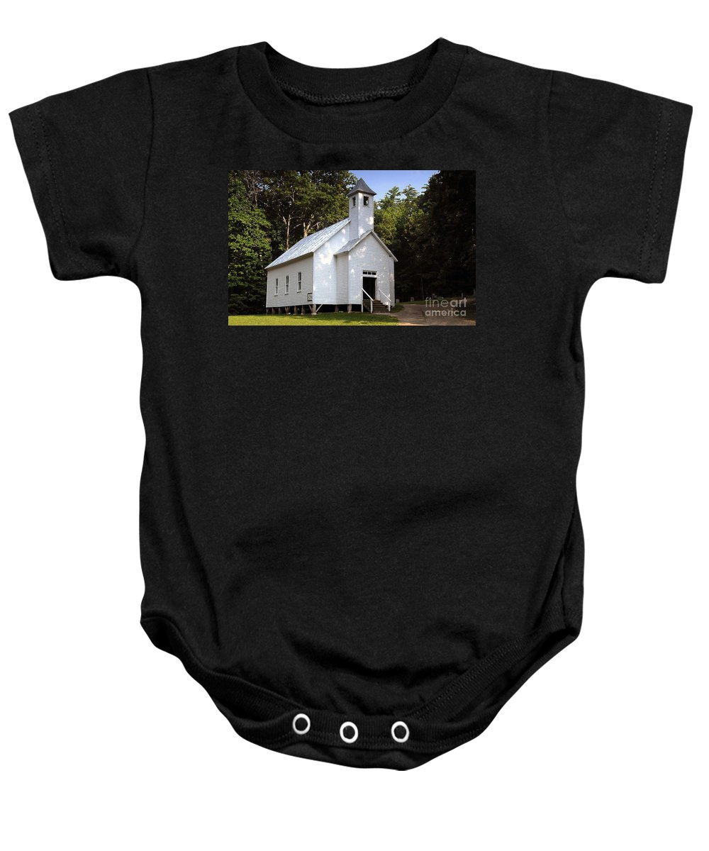 Baptist Baby Onesie featuring the photograph Cades Cove Baptist Church by David Lee Thompson