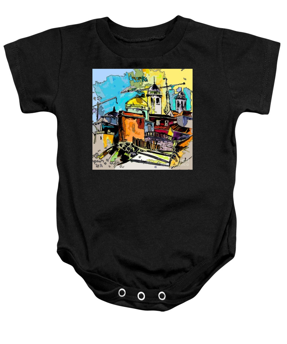 Spain Painting Cadiz Andalusia Baby Onesie featuring the painting Cadiz Spain 02 Bis by Miki De Goodaboom