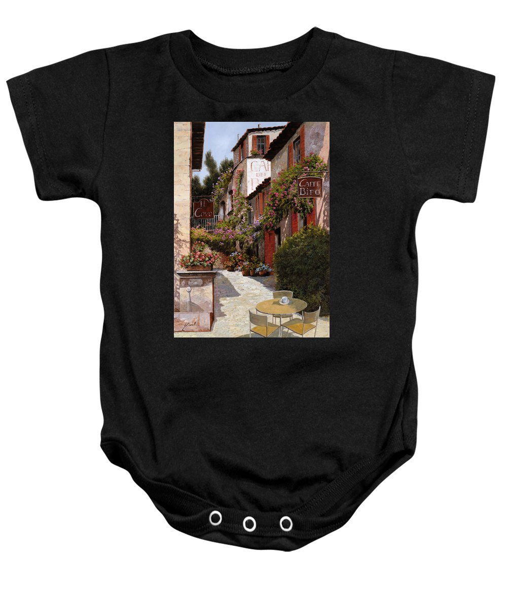 Cafe Baby Onesie featuring the painting Cafe Bifo by Guido Borelli