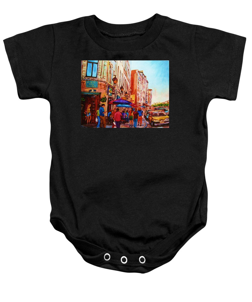 Montreal Baby Onesie featuring the painting Cafe Creme by Carole Spandau