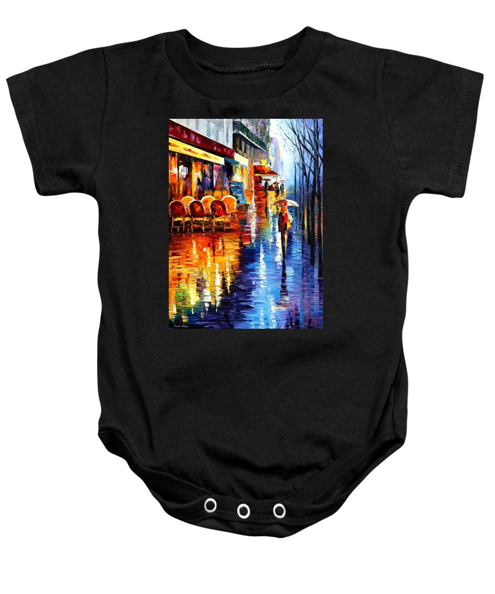 Afremov Baby Onesie featuring the painting Cafe In Paris by Leonid Afremov