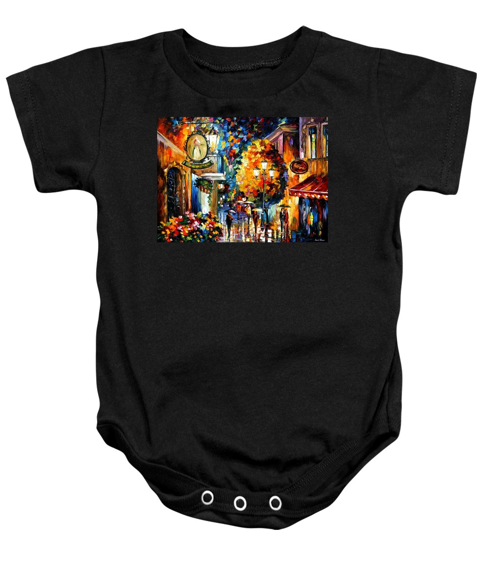 Afremov Baby Onesie featuring the painting Cafe In The Old City by Leonid Afremov