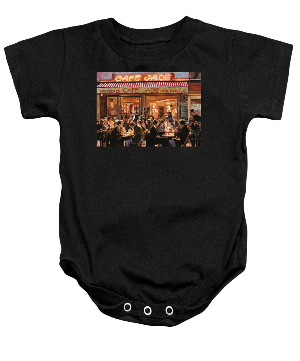 Brasserie Baby Onesie featuring the painting Cafe Jade by Guido Borelli