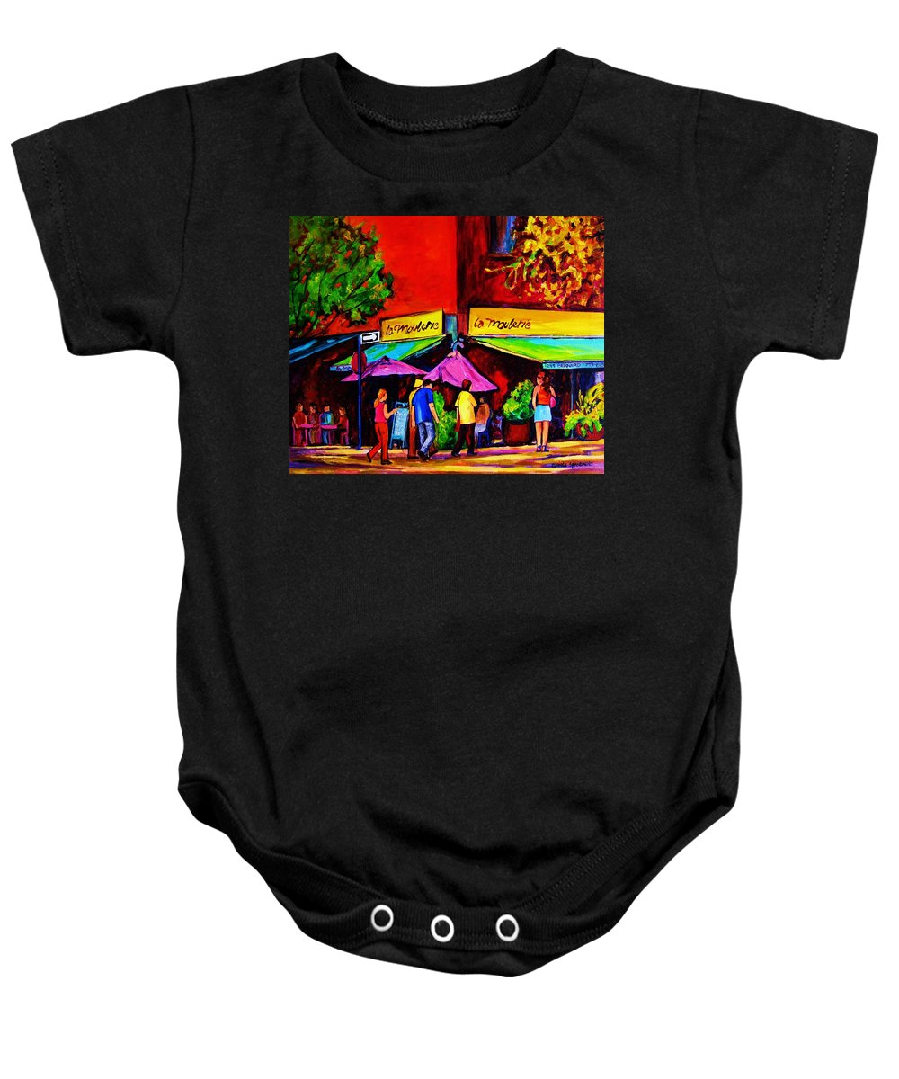 Cafe Scenes Baby Onesie featuring the painting Cafe La Moulerie On Bernard by Carole Spandau