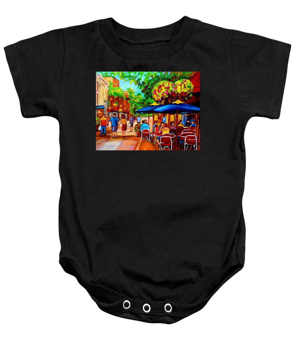 Cafe On Prince Arthur In Montreal Baby Onesie featuring the painting Cafe On Prince Arthur In Montreal by Carole Spandau