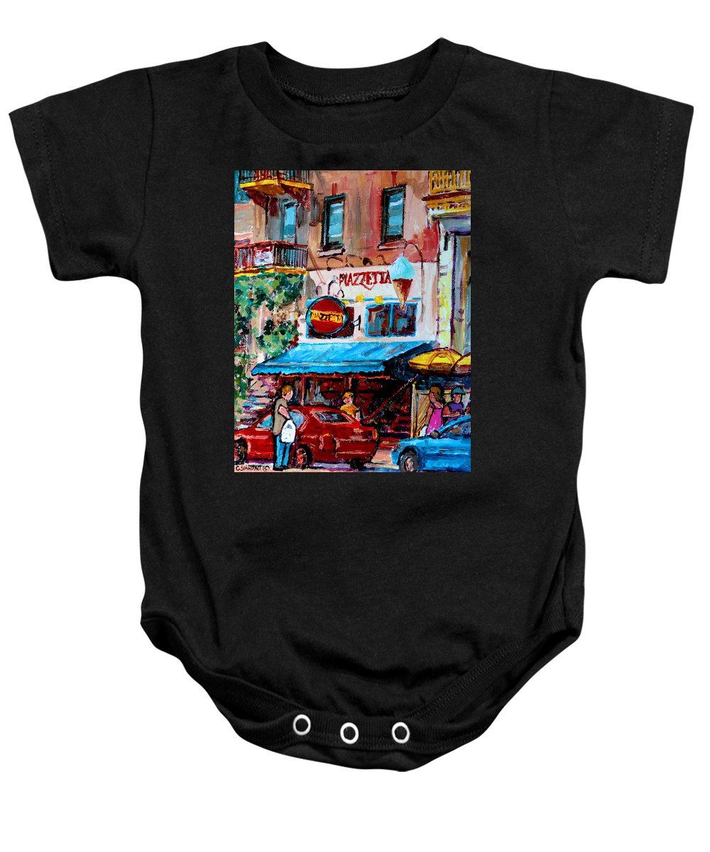Cafes On St Denis Paris Cafes Baby Onesie featuring the painting Cafe Piazzetta St Denis by Carole Spandau