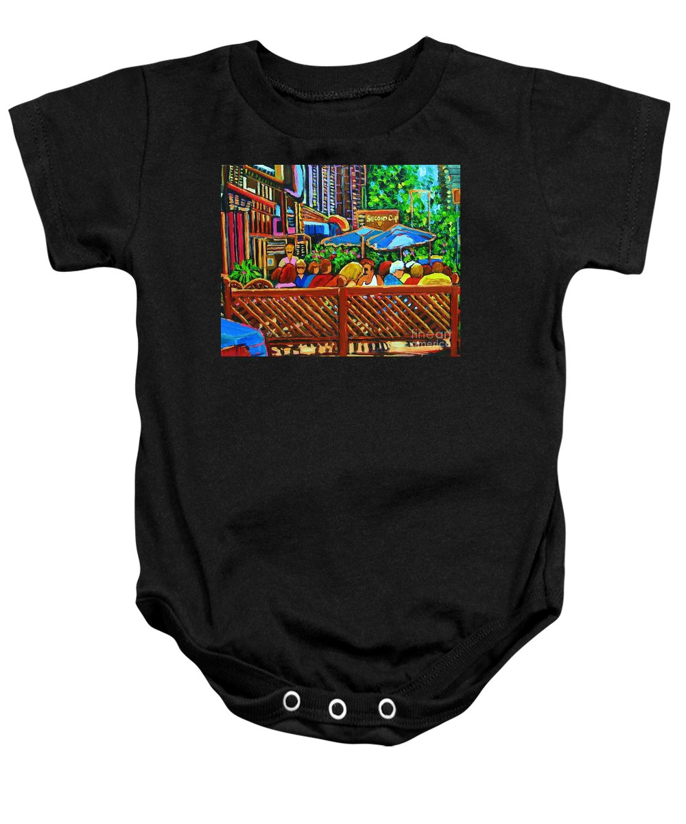Cafes Baby Onesie featuring the painting Cafe Second Cup by Carole Spandau