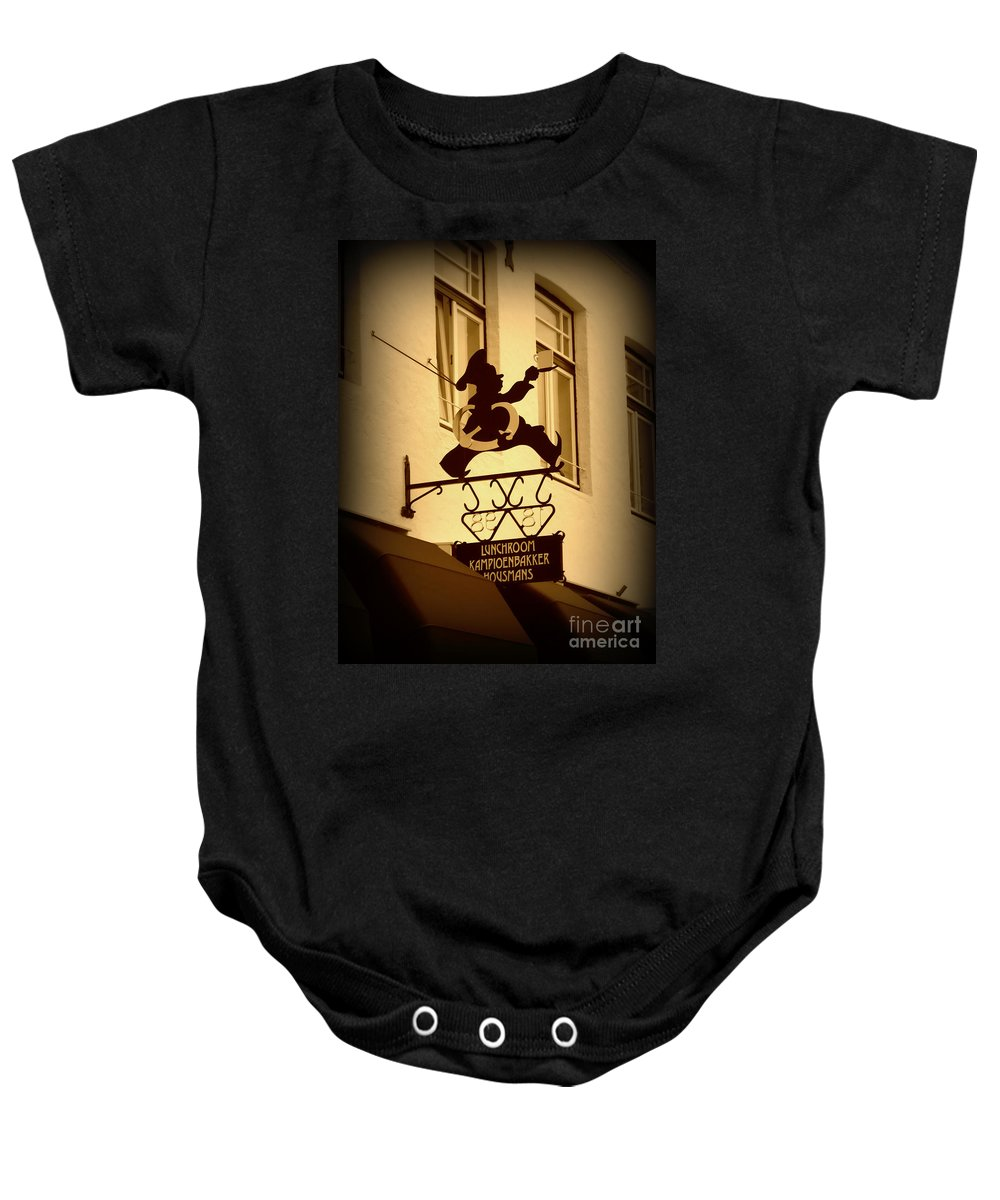 Sign Baby Onesie featuring the photograph Cafe Sign In Holland by Carol Groenen
