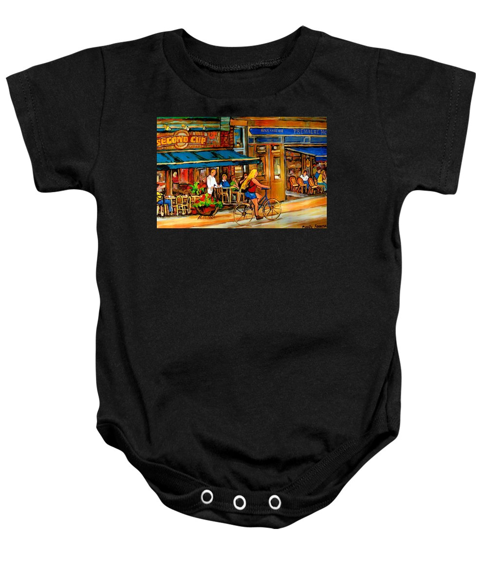 Cafes Baby Onesie featuring the painting Cafes With Blue Awnings by Carole Spandau