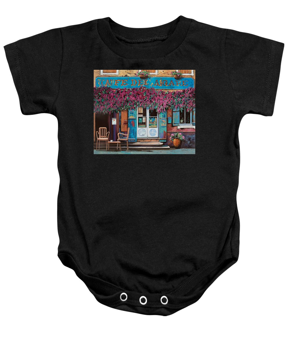 Caffe' Baby Onesie featuring the painting caffe del Aigare by Guido Borelli