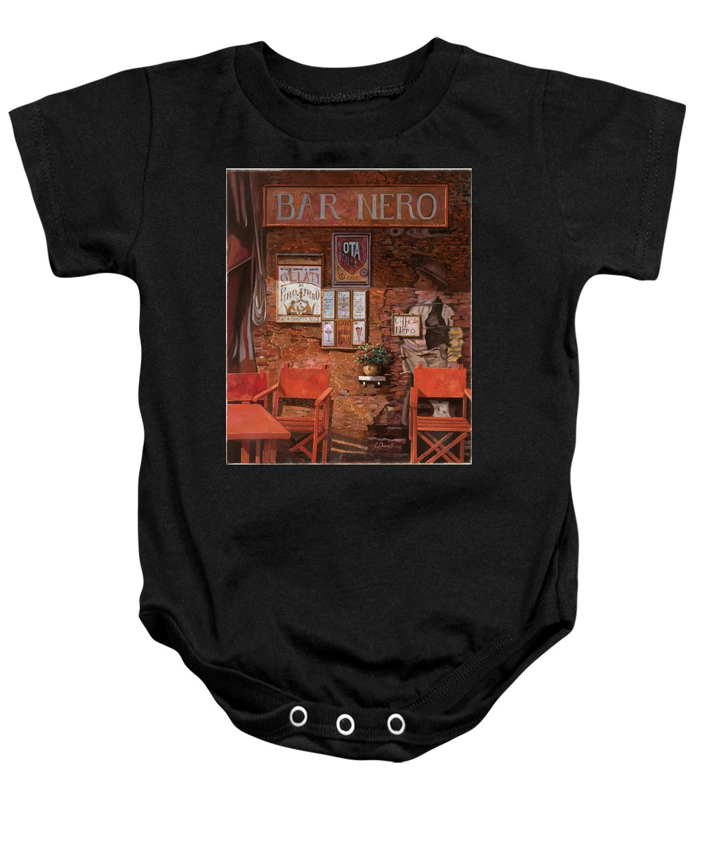 Caffe' Baby Onesie featuring the painting caffe Nero by Guido Borelli