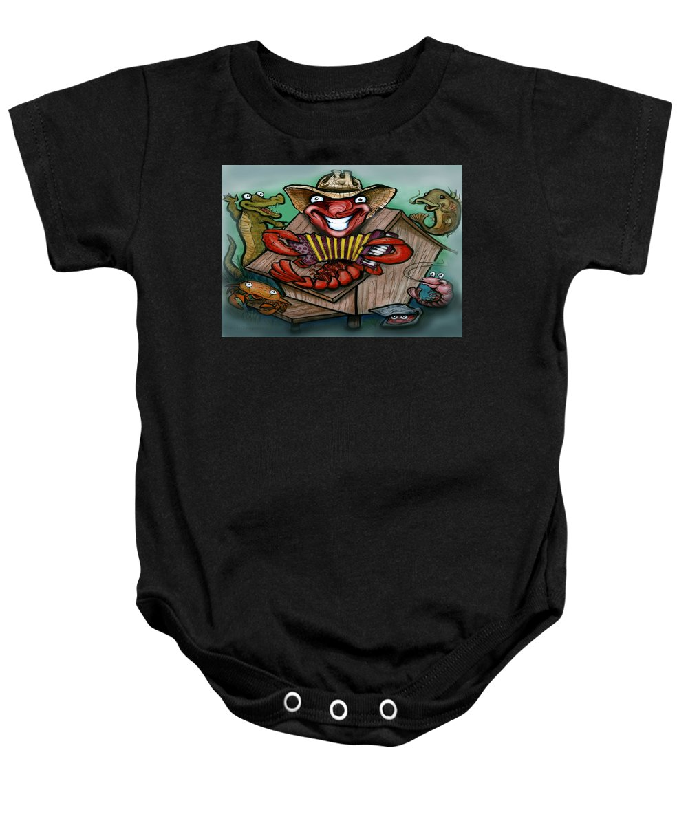 Cajun Baby Onesie featuring the greeting card Cajun Critters by Kevin Middleton