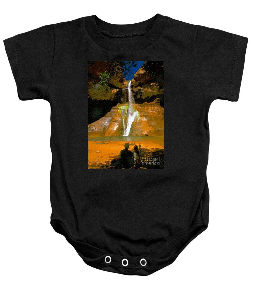 Calf Creek Falls Utah Baby Onesie featuring the painting Calf Creek Falls Utah by David Lee Thompson