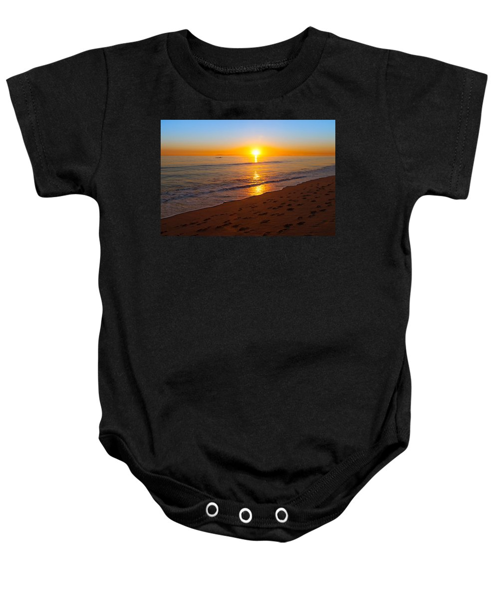 Sunset Baby Onesie featuring the photograph California Sunset by Melinda Fawver
