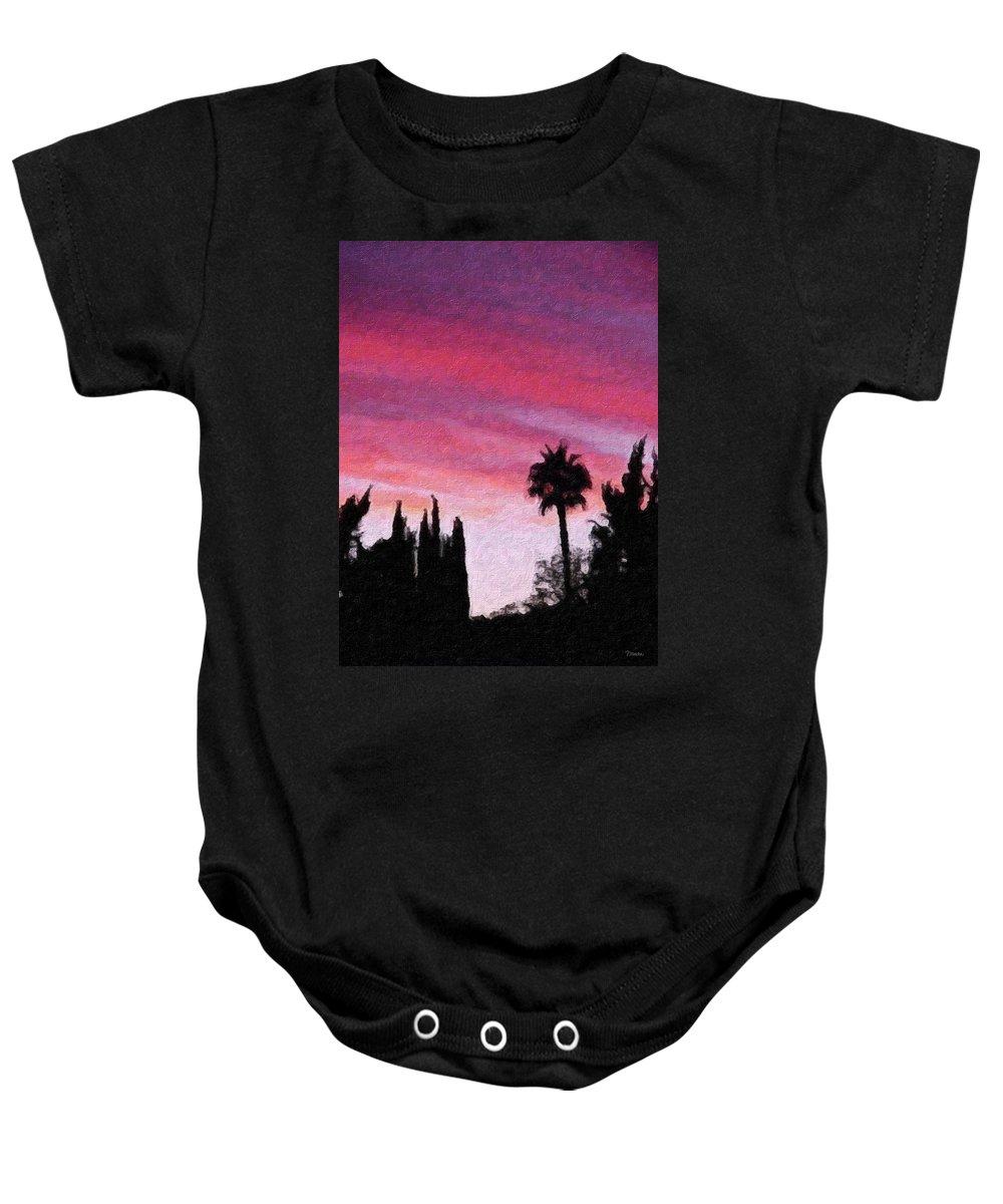 California Baby Onesie featuring the painting California Sunset Painting 2 by Teresa Mucha