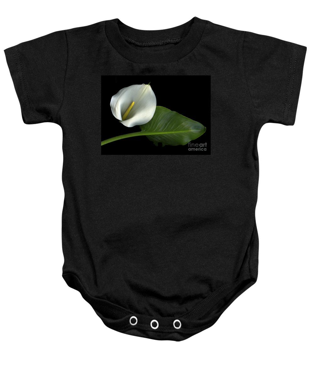 Scanography Baby Onesie featuring the photograph Calla Lily by Christian Slanec