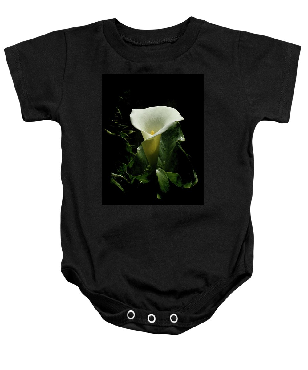 Calla Lily Baby Onesie featuring the photograph Calla Lily by Ernie Echols