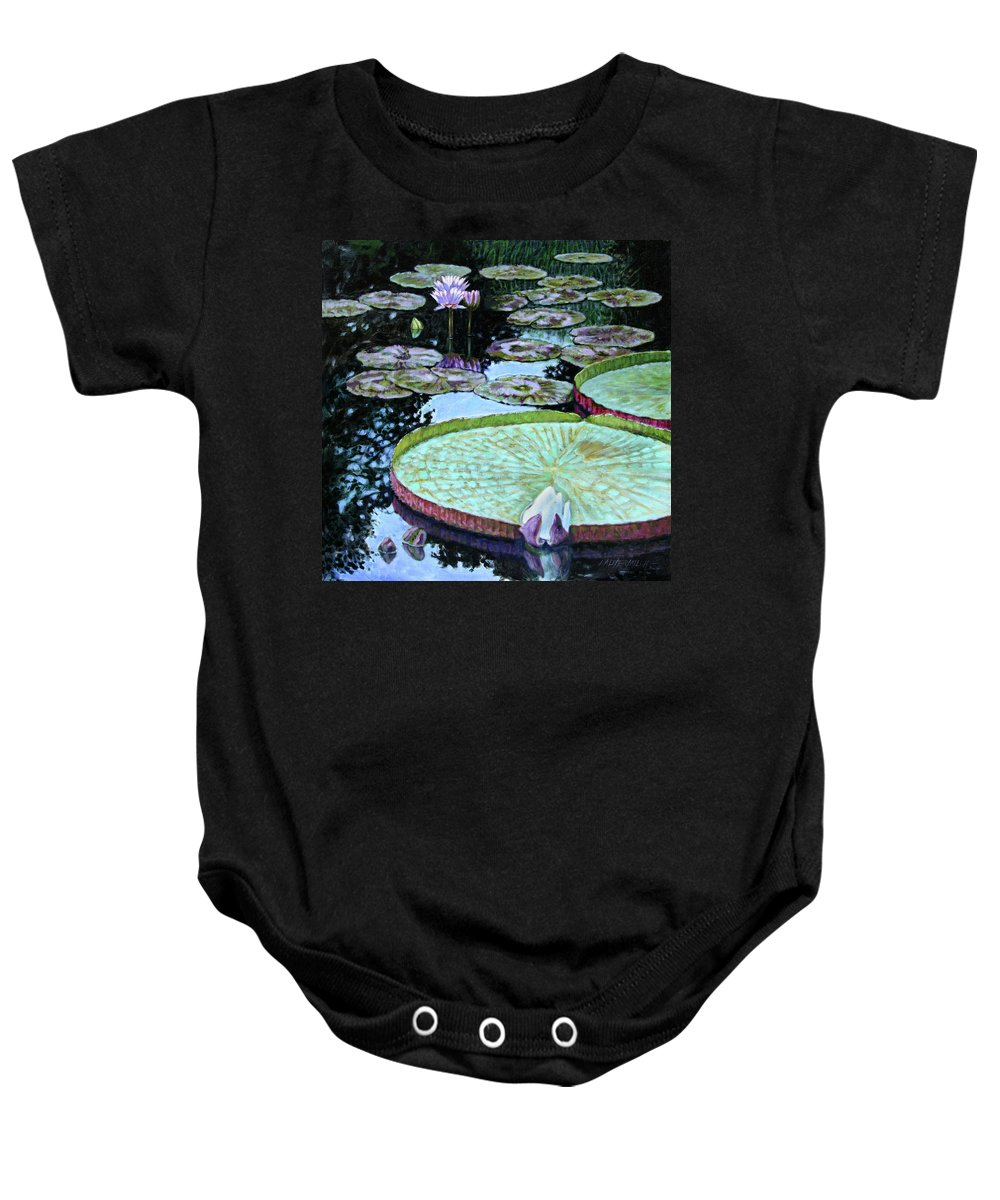 Water Lilies Baby Onesie featuring the painting Calm Reflections by John Lautermilch
