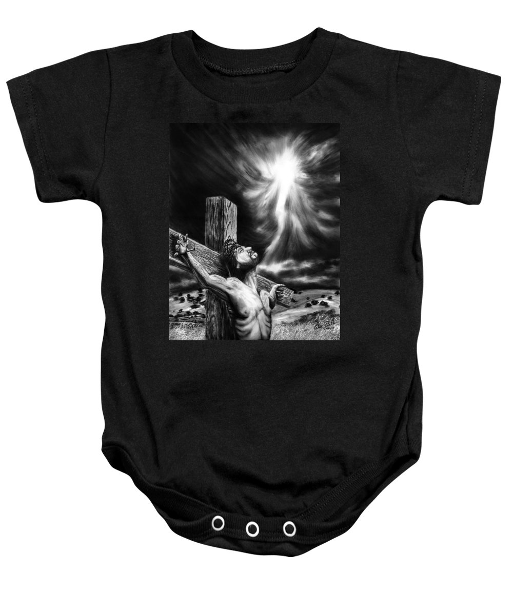 Calvary Baby Onesie featuring the drawing Calvary by Peter Piatt