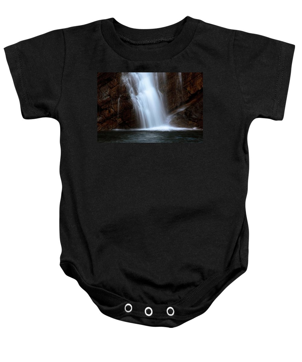 Cameron Falls Baby Onesie featuring the digital art Cameron Falls In Waterton Lakes National Park Of Alberta by Mark Duffy