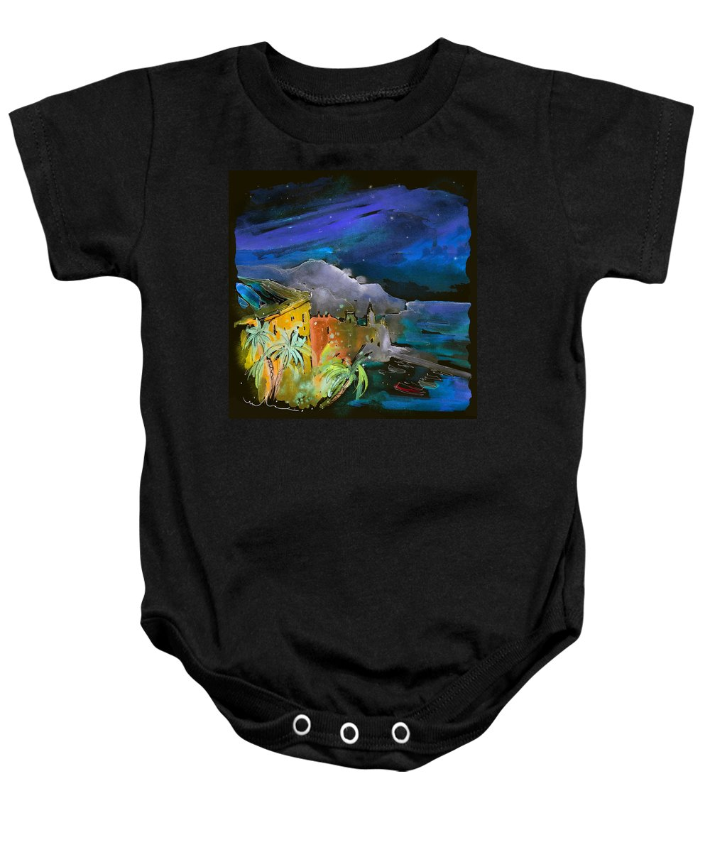 Italy Baby Onesie featuring the painting Camogli By Night In Italy by Miki De Goodaboom