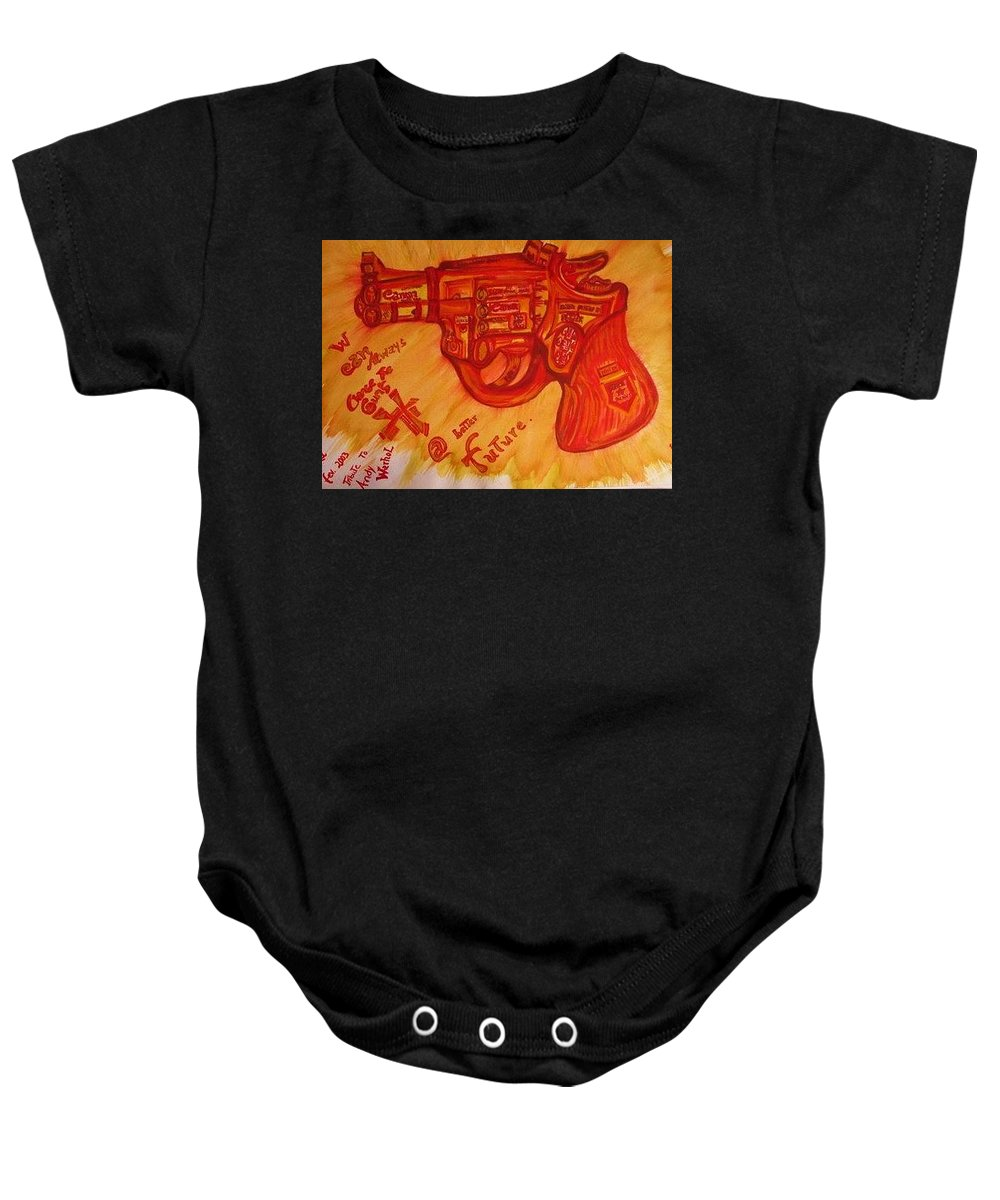 Revolver Baby Onesie featuring the painting Can On by Nila Poduschco