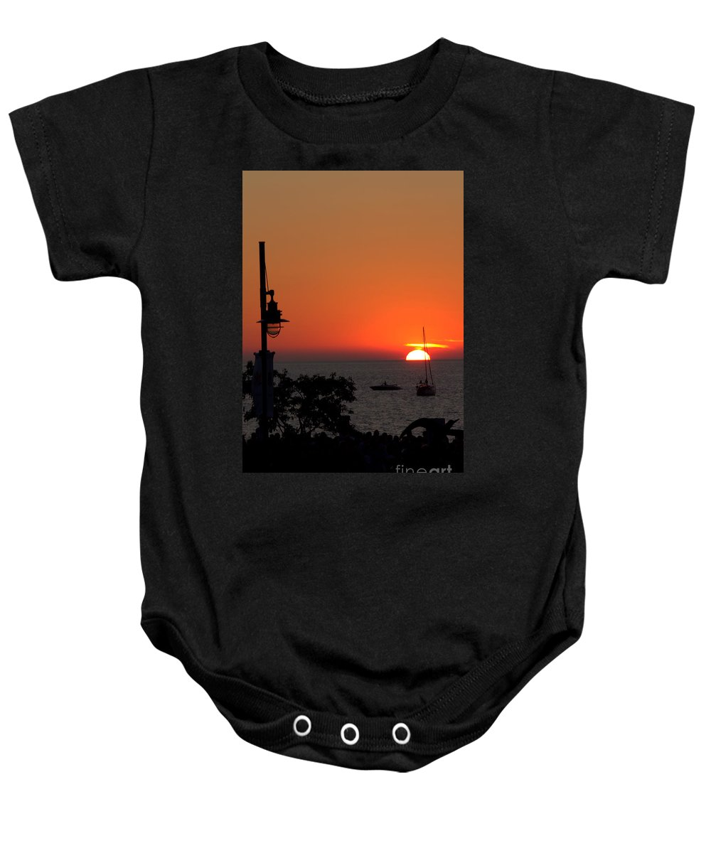 Grand Bend Baby Onesie featuring the photograph Canada 150th Birthday Sunset 4 by John Scatcherd