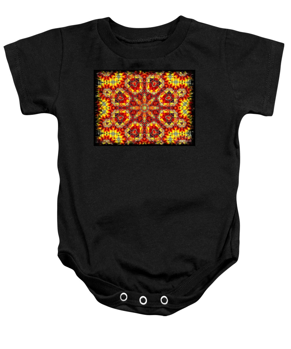 Abstract Baby Onesie featuring the digital art Candle Wood by Robert Orinski