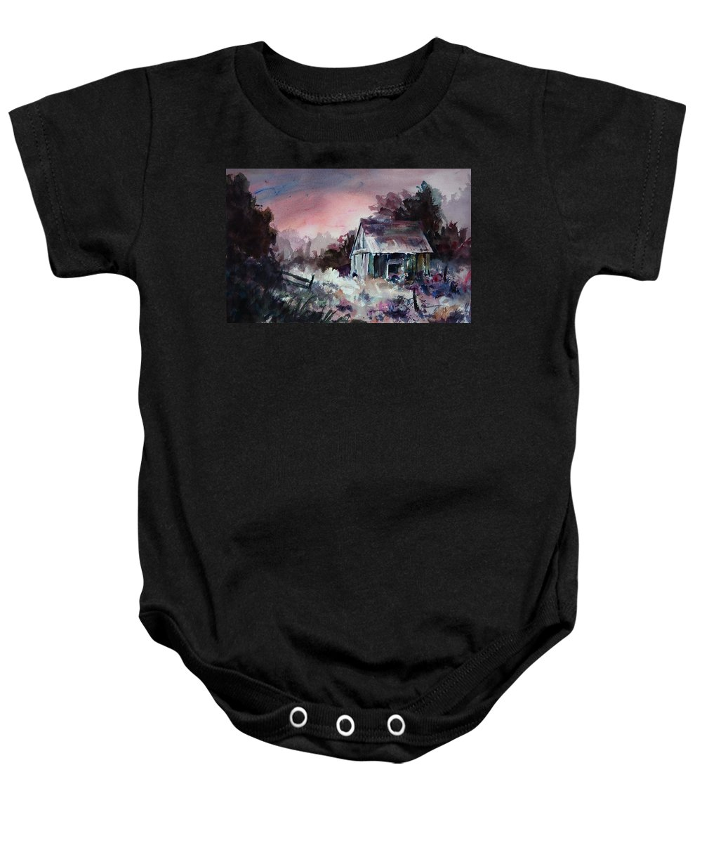 Shack Baby Onesie featuring the painting Candy Cane by Rachel Christine Nowicki