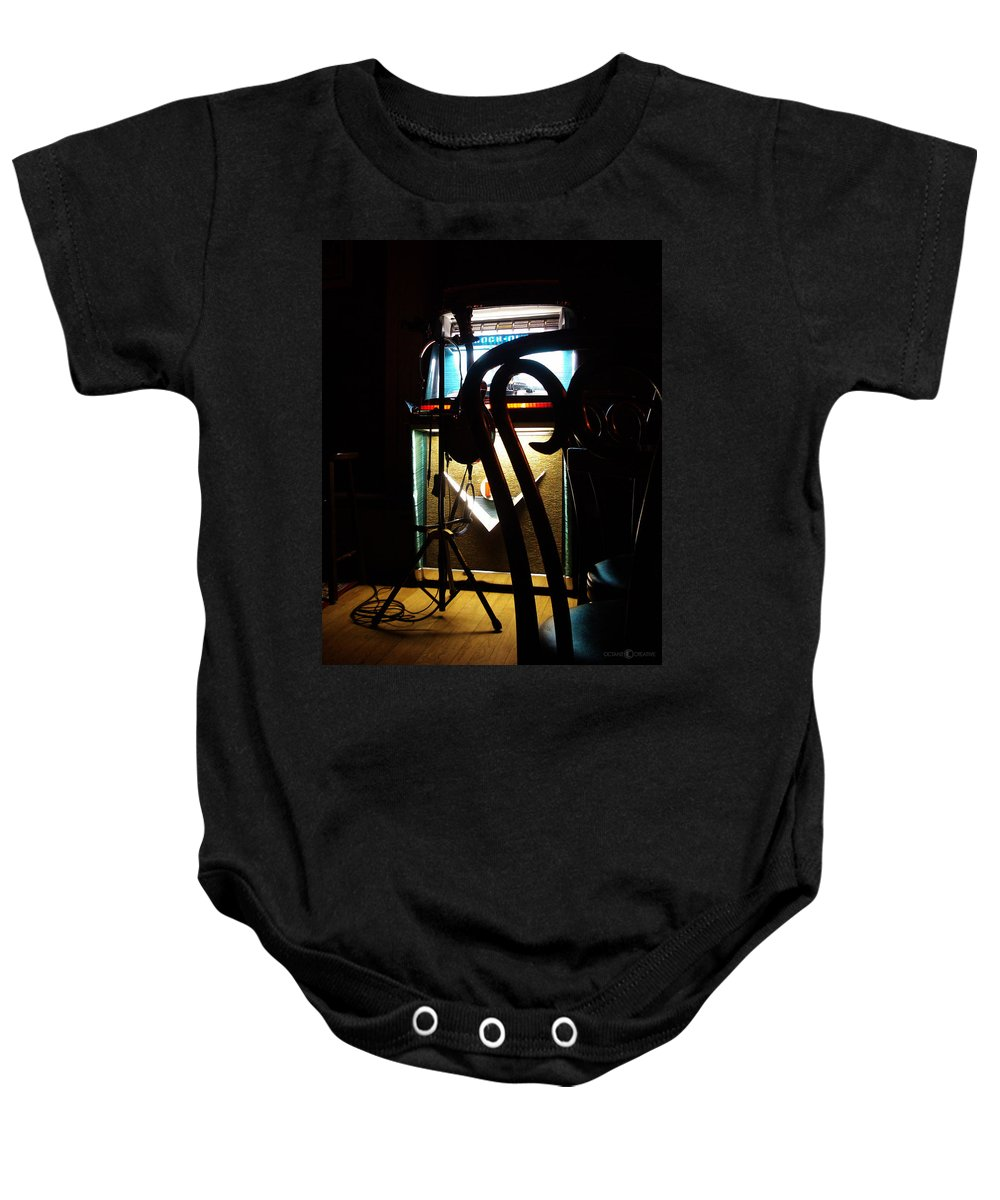 Music Baby Onesie featuring the photograph Canned Music by Tim Nyberg