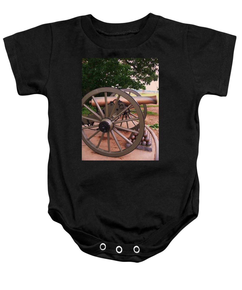 Field Baby Onesie featuring the painting Cannon Gettysburg by Eric Schiabor