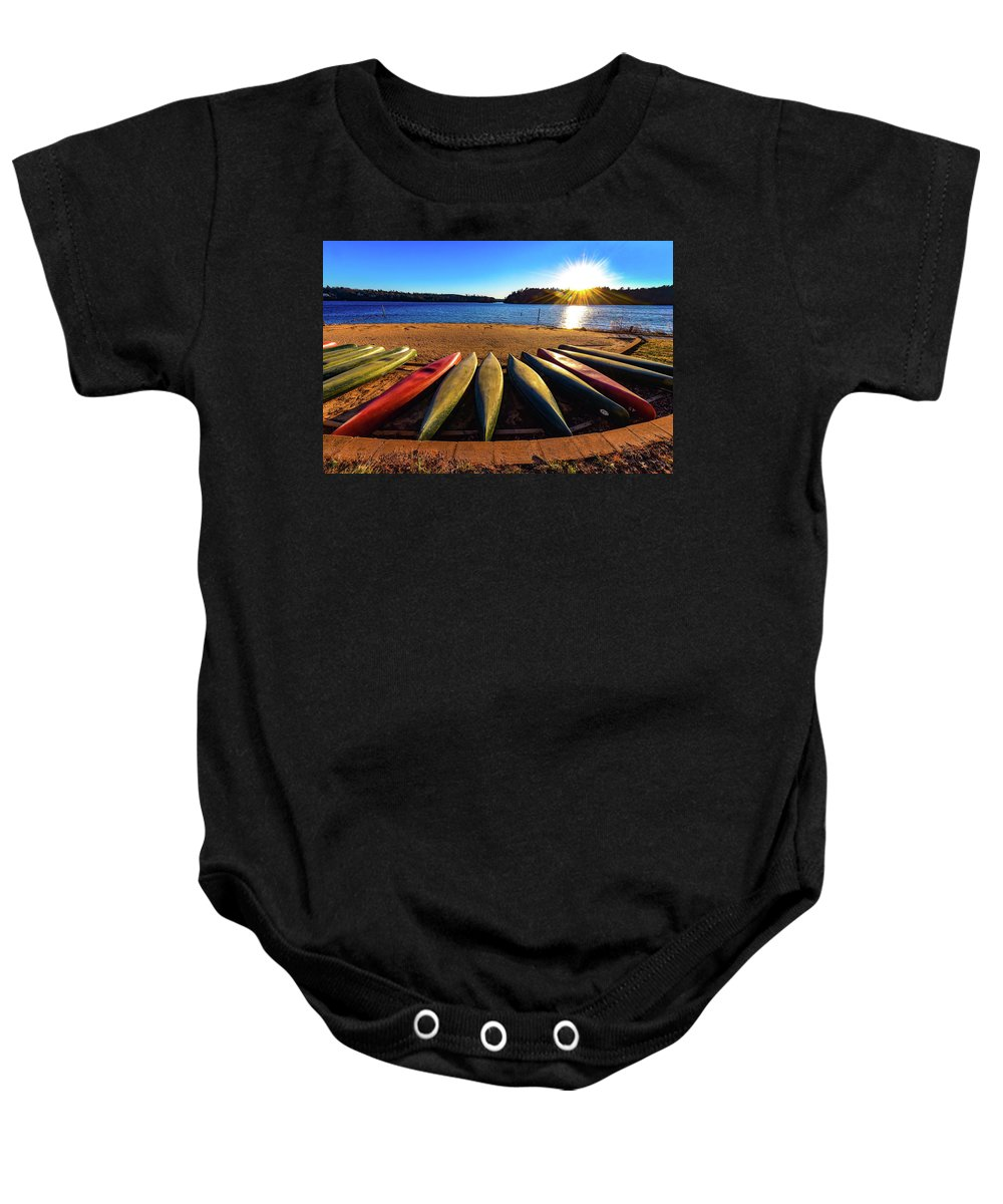 Lake James State Parkpaddy's Creek Baby Onesie featuring the photograph Canoes At Sunset by Kathy Kmonicek