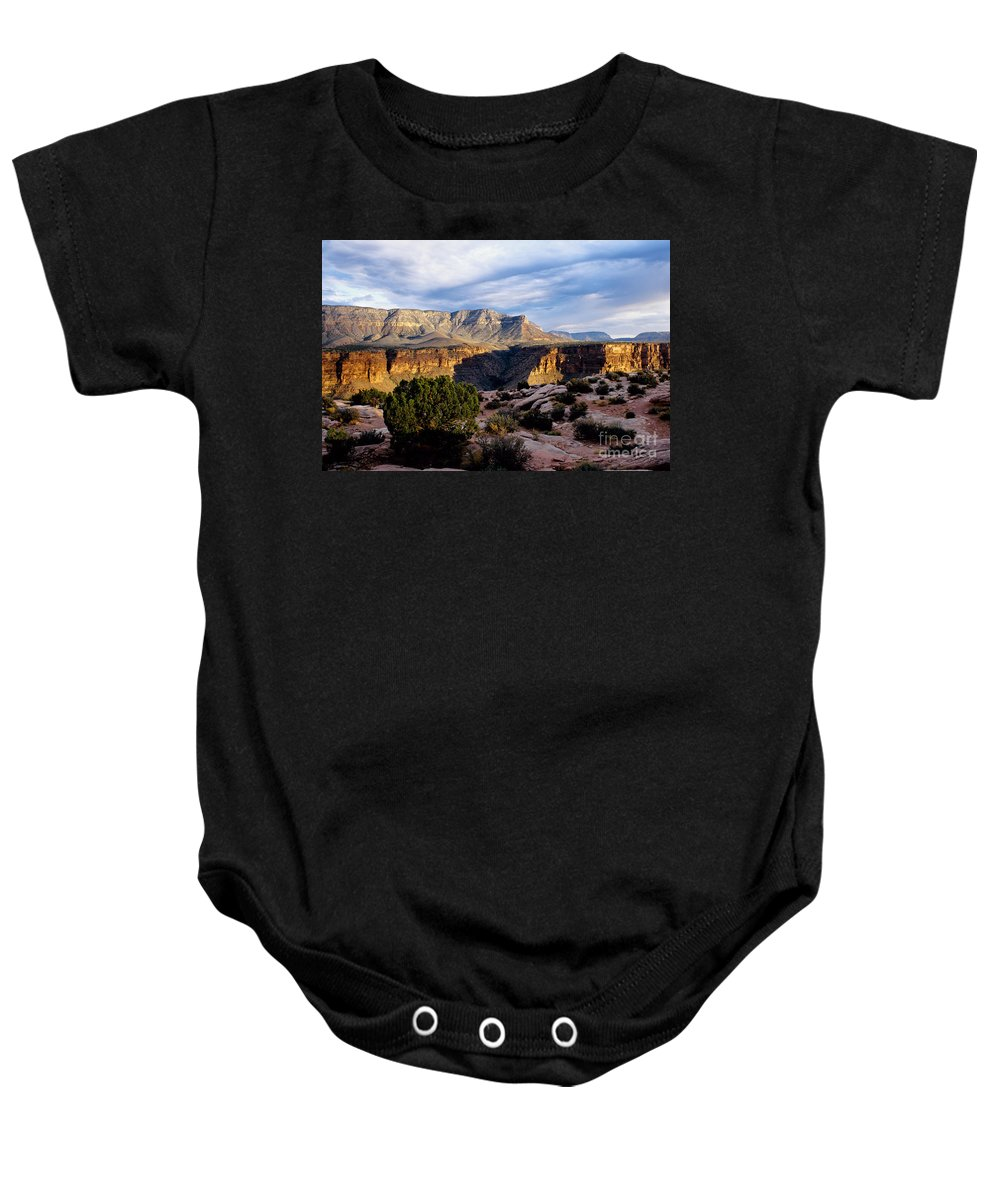 Toroweap Baby Onesie featuring the photograph Canyon Walls At Toroweap by Kathy McClure