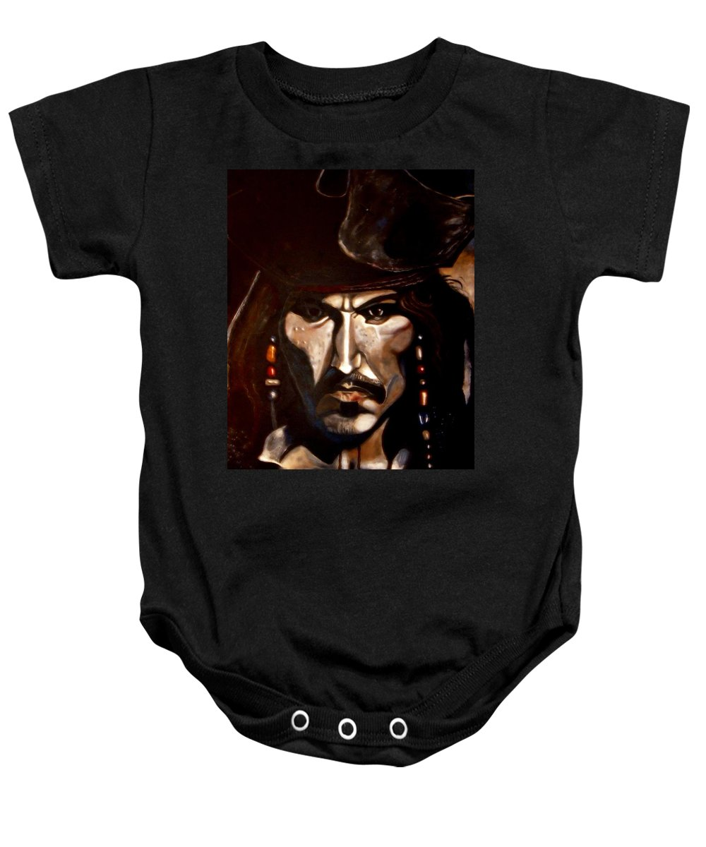 Captain Jack Sparrow Baby Onesie featuring the painting Captain Jack Sparrow by Herbert Renard