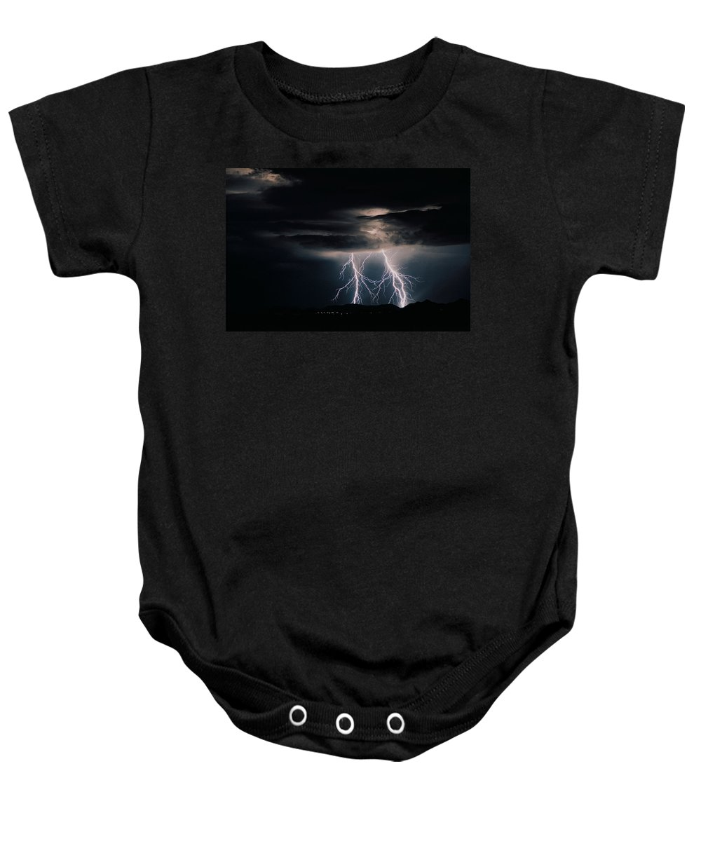 Arizona Baby Onesie featuring the photograph Carefree Lightning by Cathy Franklin