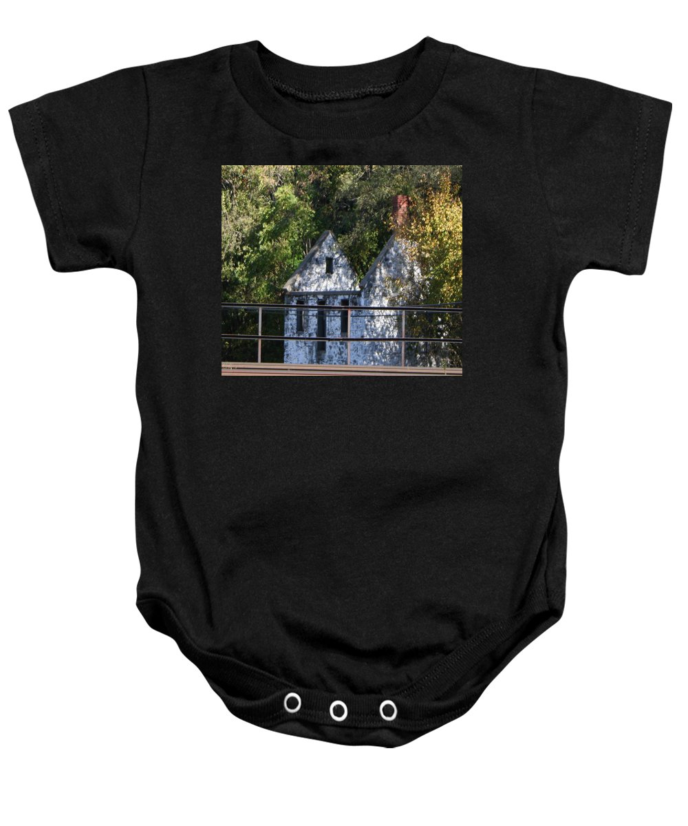 Stone House Baby Onesie featuring the photograph Caretakers House by Rebecca Smith