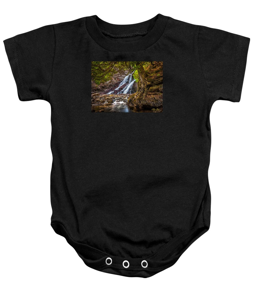 Minnesota Baby Onesie featuring the photograph Caribou Falls In Fall by Rikk Flohr