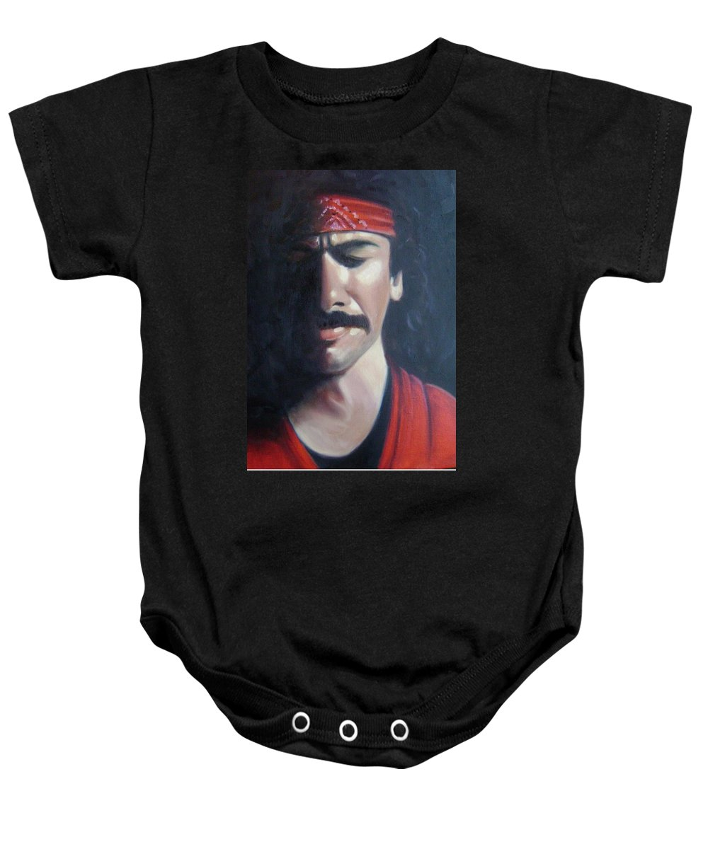 Santana Baby Onesie featuring the painting Carlos Santana by Toni Berry