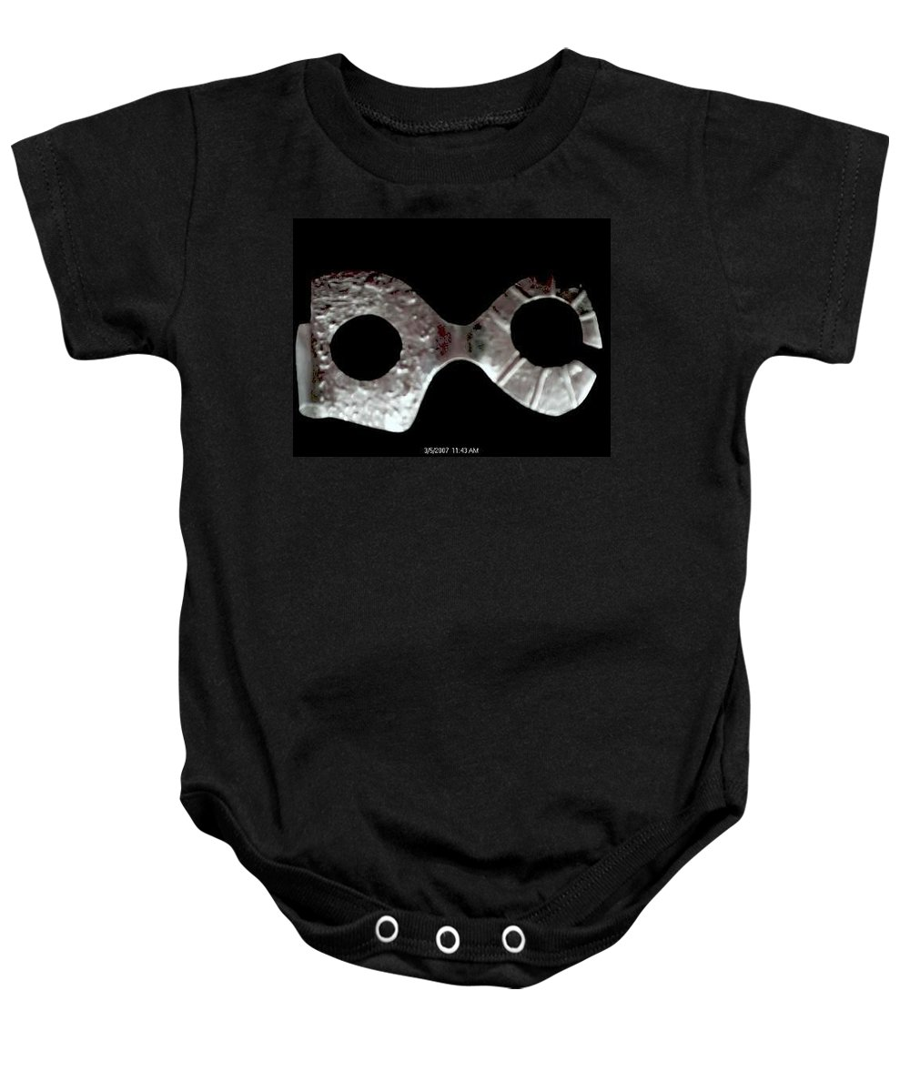 Carnival Type Face Mask For Wearing In .999 Fine Silver Baby Onesie featuring the sculpture Carnival 002 by Robert aka Bobby Ray Howle