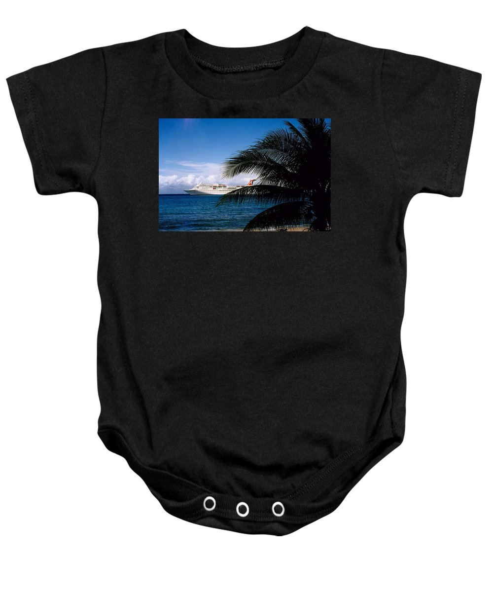 Druise Baby Onesie featuring the photograph Carnival Docked At Grand Cayman by Gary Wonning